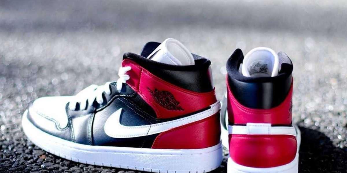 Nike Air Jordan 1 Mid Black/White-Noble Red BQ6472-016 Fast Shipping
